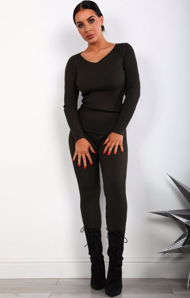 Charcoal Ribbed Loungewear Set