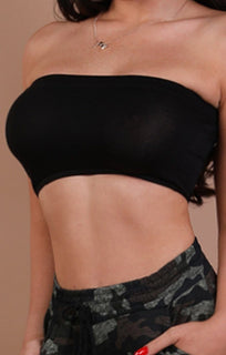 Black Basic Bandeau Crop Top