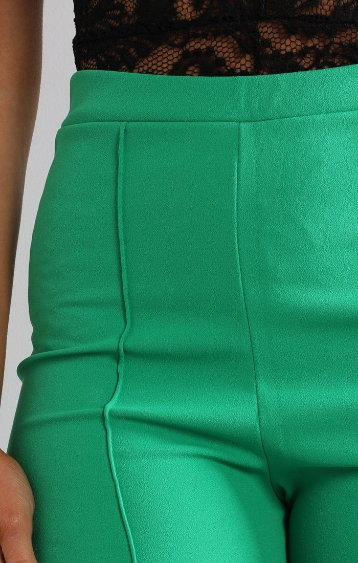 Green High Waist Flare Trousers - Holly