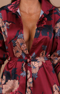 Wine Floral Satin Shirt Dress - Emmalyn