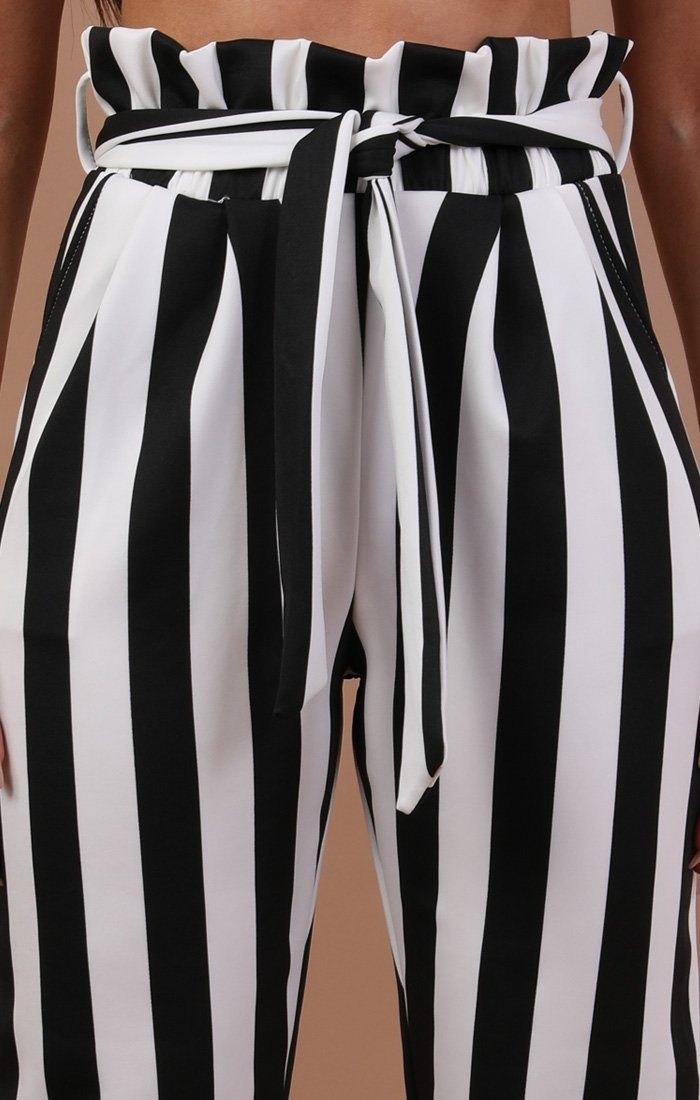 Black And White Paper Bag Trousers - Alina