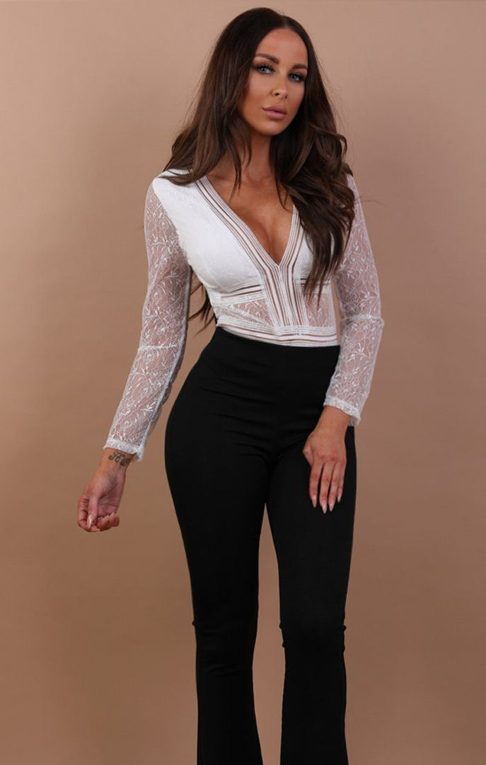 White Lace V-neck Bodysuit.- Raine