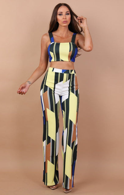 Blue Contrast Two Piece Co-ord Set - Tara