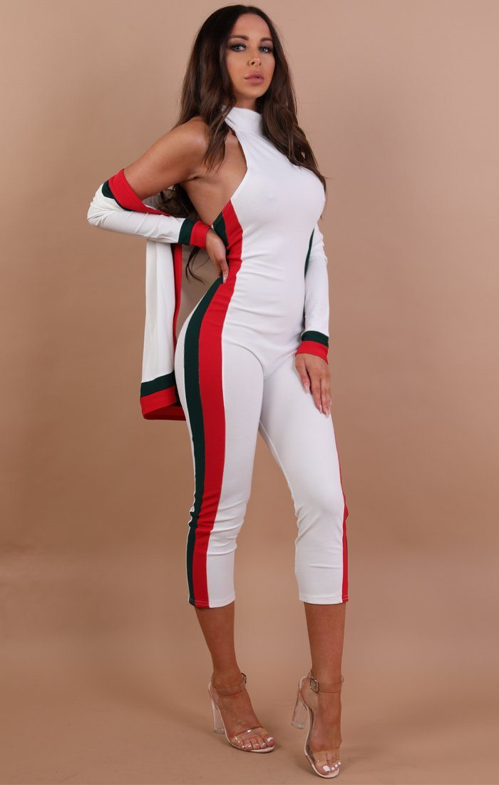 White Green And Red Two Piece Co-ord Set - Sarah