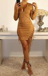 CAMEL SUEDE TIE UP DRESS