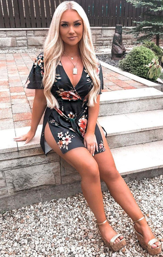 Black Floral Split Wrap Dress - Kiara