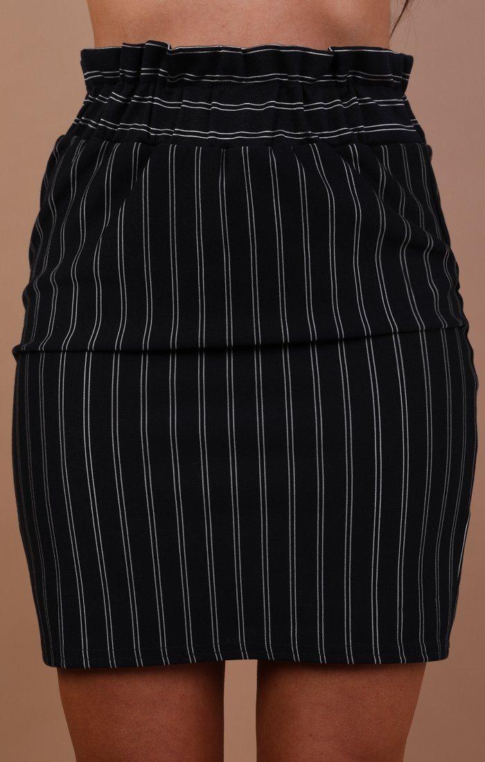 Navy Pinstripe Detail Mini High Waist Skirt - Luna