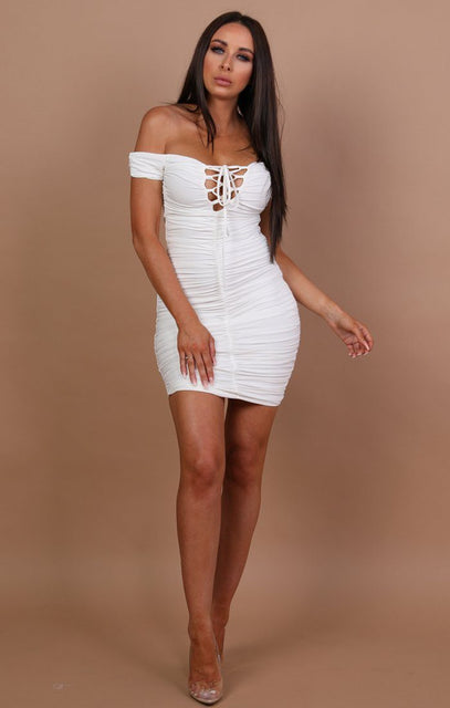 White Slinky Ruched Bardot Dress – Carli