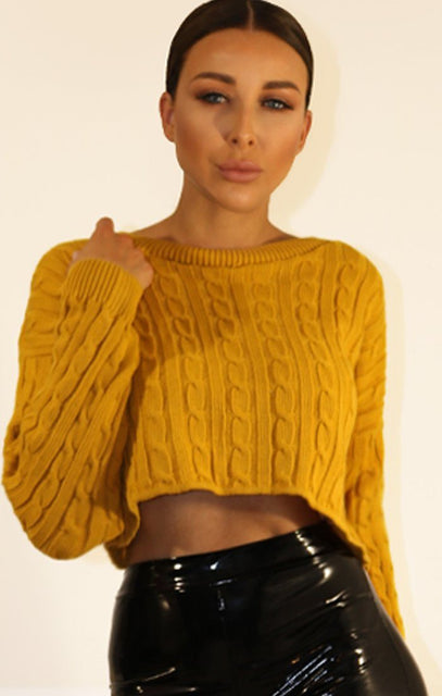 Mustard Cropped Cable Knit Jumper