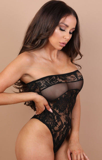 Black Bandeau Lace Bodysuit - Billie