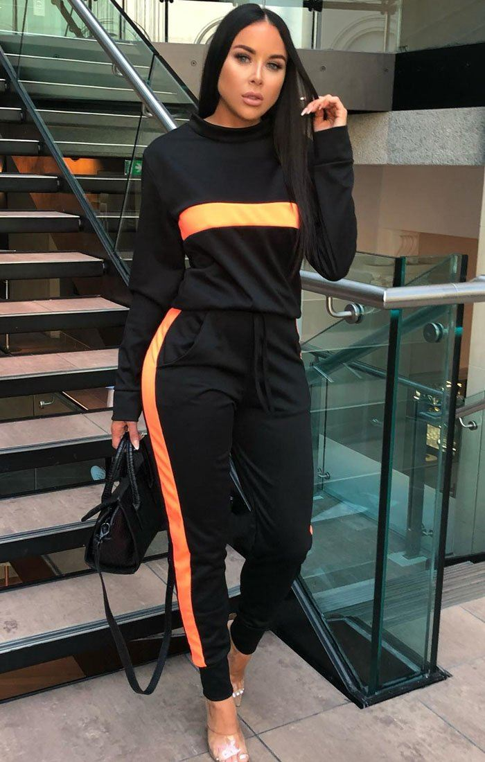 Black Neon Orange Stripe Loungewear Set - Kendall