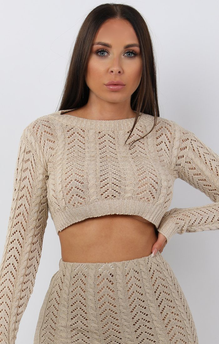 Beige Crochet Long Sleeve Crop Top - Natasha