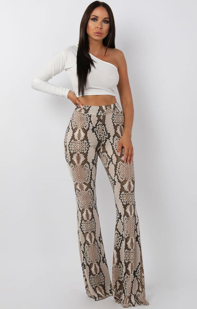 Beige-High-Waisted-Snake-Print-Flared-Trousers-Olivia