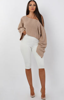 Beige Jumbo Ribbed Oversized Crop Jumper - Raven sale FemmeLuxe
