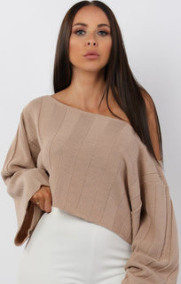 Beige-Jumbo-Ribbed-Oversized-Crop-Jumper-Raven