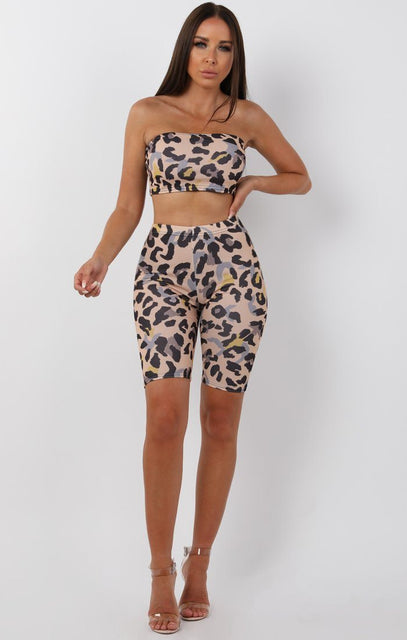 Beige Animal Leopard Bandeau Two Piece Co-ord Set - Bonny