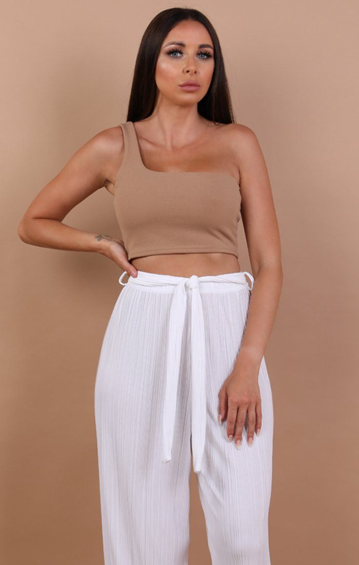 Beige One Shoulder Crop Top - Keeley