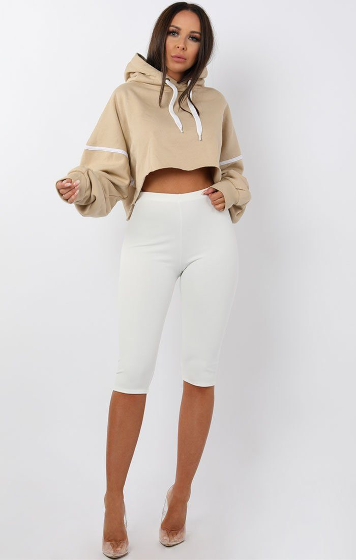 Beige Oversized Crop Hoodie - Crystal Shop FemmeLuxe