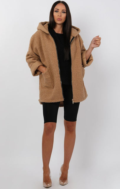 Beige Oversized Hooded Teddy Jacket - Katrina