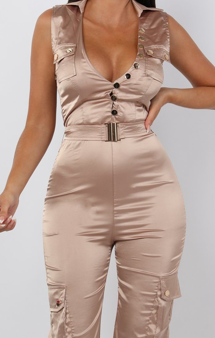 Beige Satin Belted Pocket Detail Jumpsuit - Casey