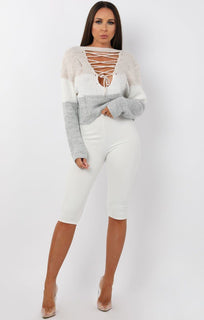 Beige Stripe Reversible Lace Knit Jumper - Trisha