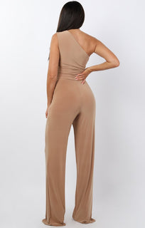 Beige Tie Front One Shoulder Jumpsuit - Heather