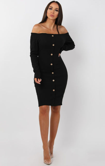 Black Bardot Button Front Bodycon Dress - Lyric