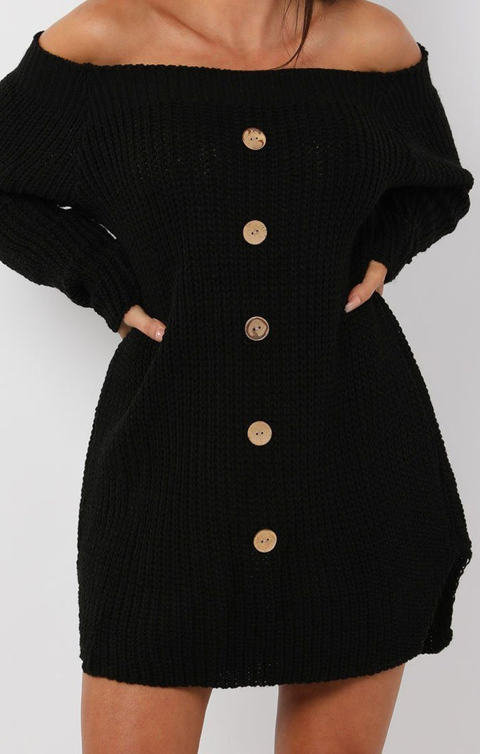 Black Bardot Button Knit Jumper Dress - Mercy
