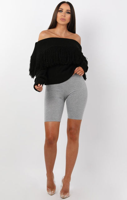 Black Bardot Tassel Knitted Jumper - Eve