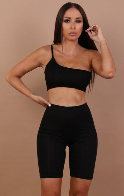 Black Basic One Shoulder Crop Top - Mia