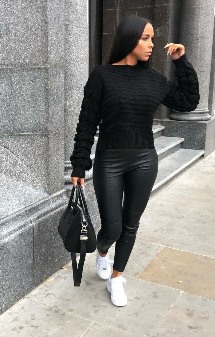 Black Bobble Stitch Knitted Jumper - Sandy
