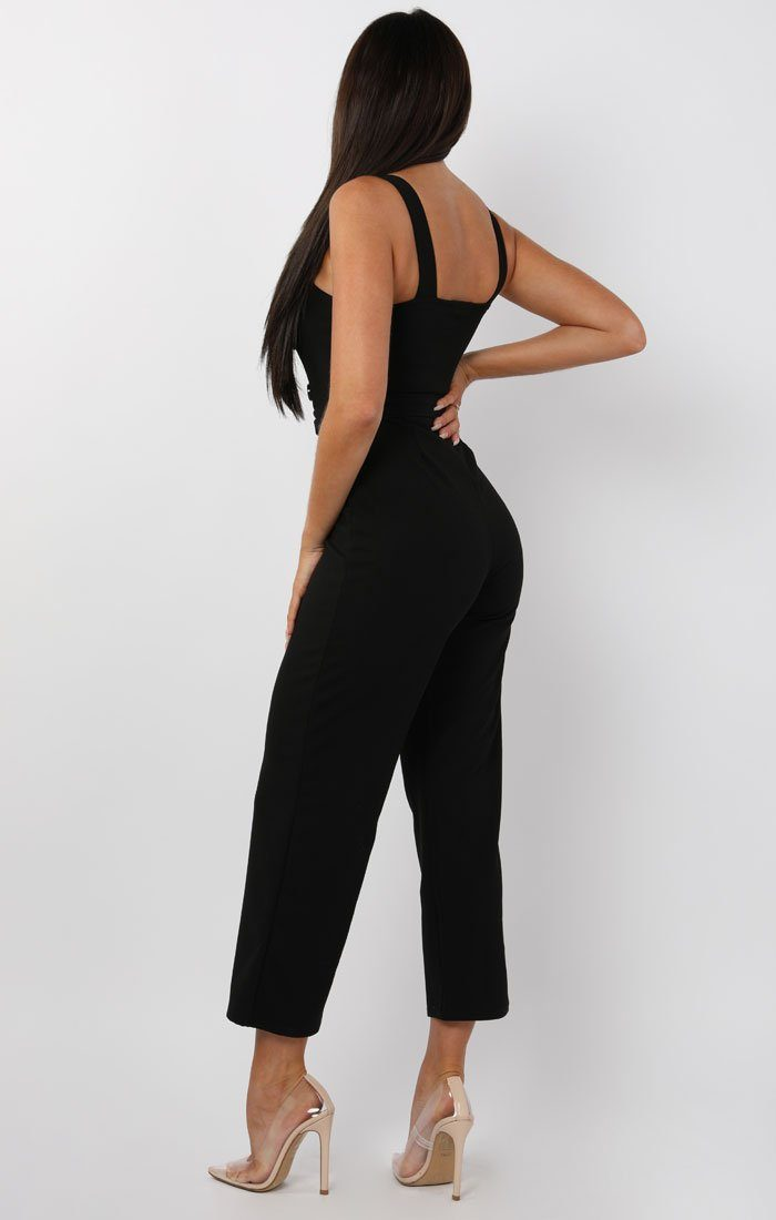 Black Button Detail Belted Jumpsuit - Echo