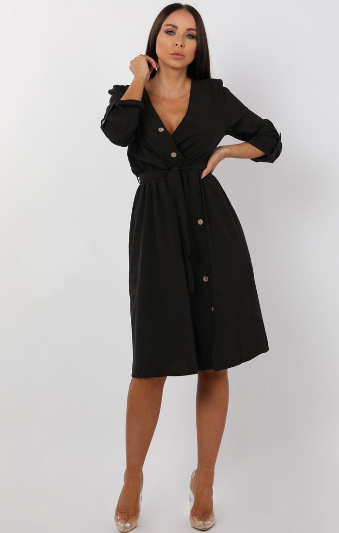 Black Button Detail Wrap Dress - Jenna