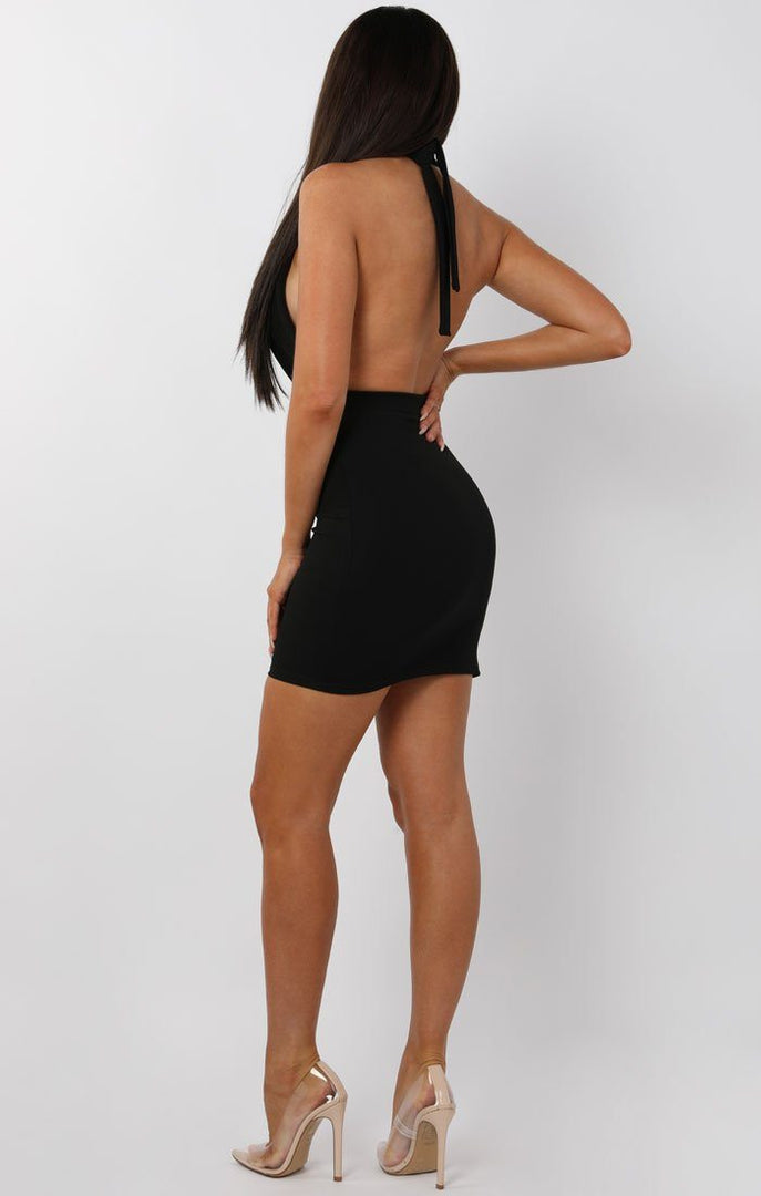 Black-Button-Plunge-Halterneck-Mini-Dress-Jeanie