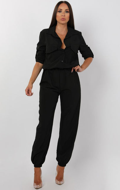 Black Button Up Shirt Jumpsuit - Charlie