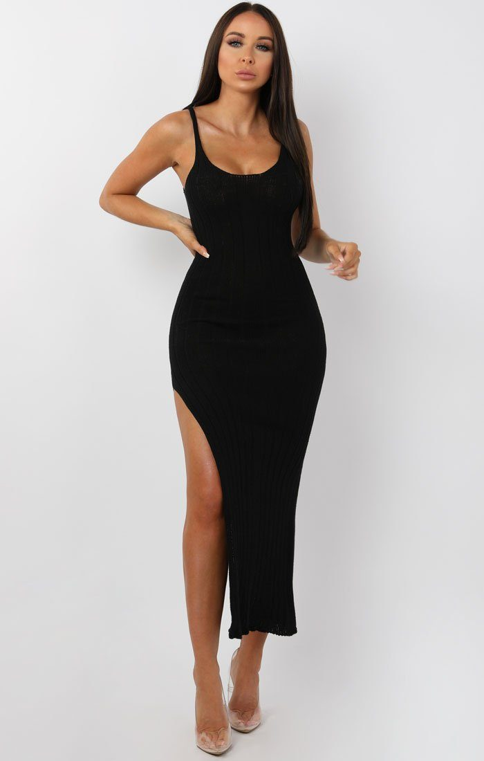Black-Cami-Knitted-Side-Split-Maxi-dress-Thea