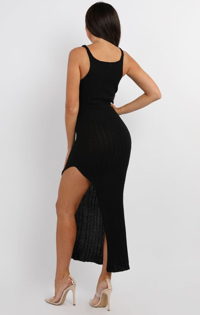 Black Cami Knitted Side Split Maxi dress - Thea