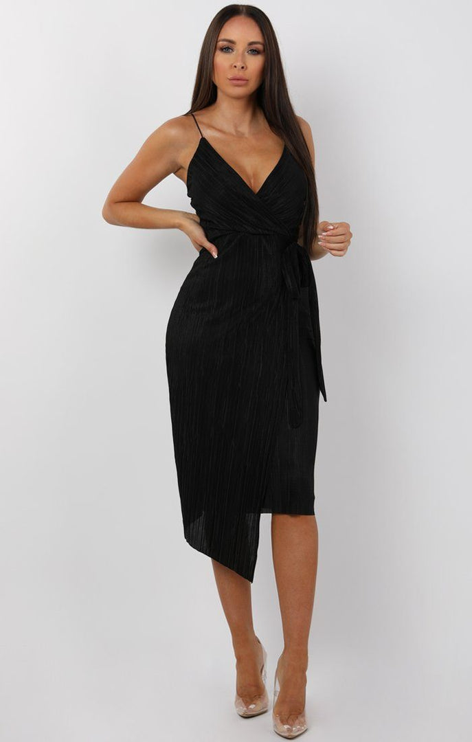 Black Cami Pleated Wrap Midi Dress - Dolly