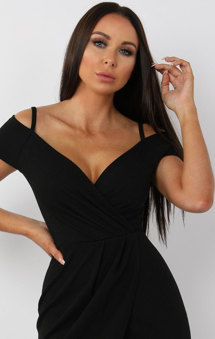 Black Cold Shoulder Wrap Front Midi Dress - Roslyn