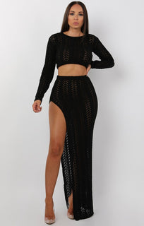 Black Crochet Long Sleeve Crop Top - Natasha