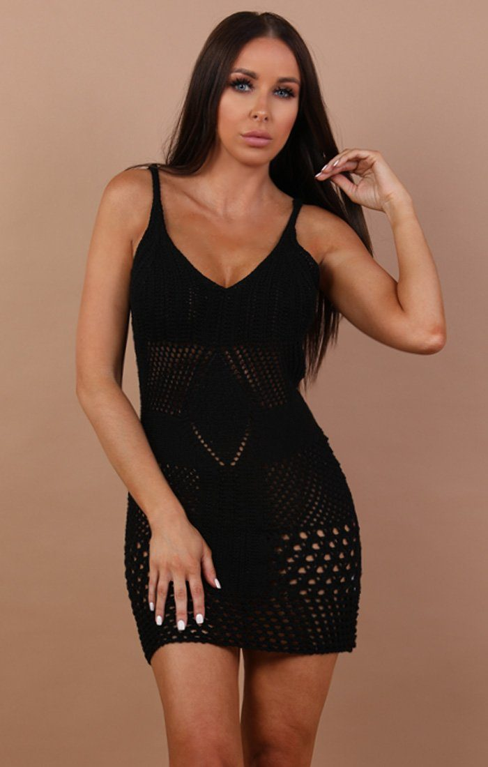 Black Crochet Mini Dress - Elle