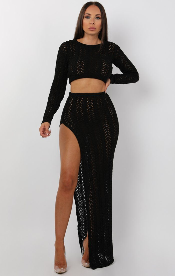 Black Crochet Split Leg Maxi High Waist Skirt - Robin 6417fc889