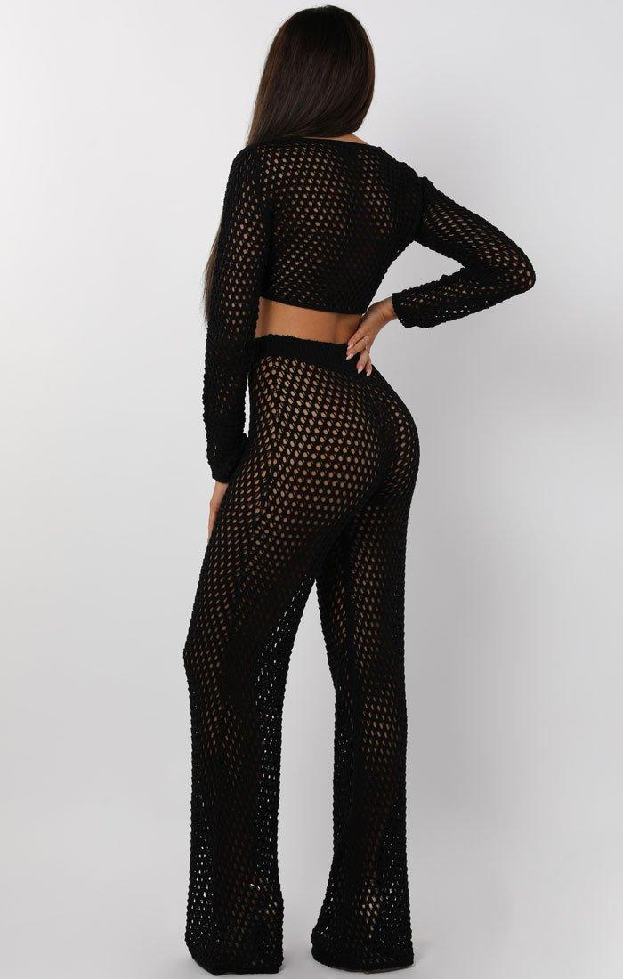 Black Crochet Wide Leg Trouser - Nova
