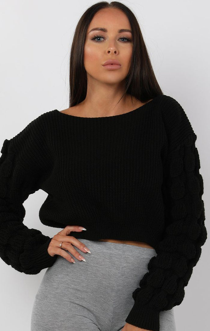 Black-Ribbed-Bobble-Stitch-Knitted-Jumper-Maisie