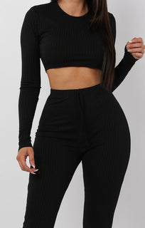 Black Cropped Long Sleeve Loungewear Set - Joanne