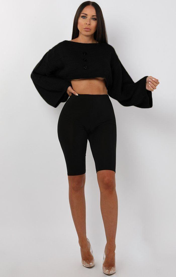 0e36e841a5 Black Flare Sleeve Button Front Crop Jumper - Sabrina sale FemmeLuxe