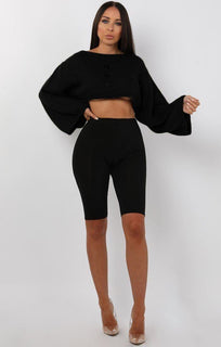 Black-Flare-Sleeve-Button-Front-Crop-Jumper-Sabrina