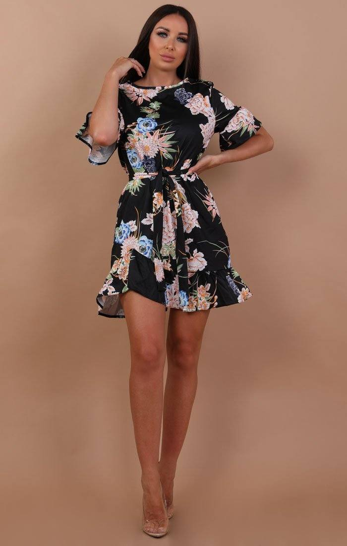 Black Floral Frill Belted Tea Dress - Carly