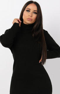 Black High Neck Bodycon Jumper Dress - Esmelia