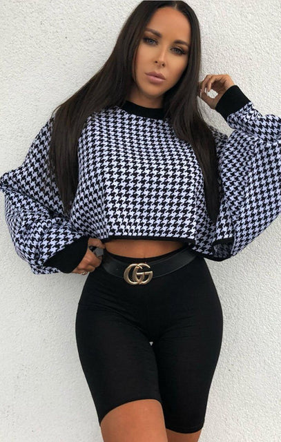 Black Houndstooth Print Crop Jumper - Cari